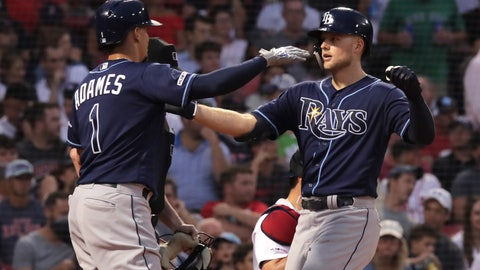 <p>               Tampa Bay Rays' Austin Meadows, right, is congratulated by Willy Adames (1) after his three-run home run off Boston Red Sox starting pitcher Rick Porcello during the second inning of a baseball game at Fenway Park in Boston, Wednesday, July 31, 2019. (AP Photo/Charles Krupa)             </p>