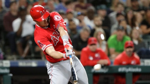 <p>               Los Angeles Angels' Mike Trout connects on a three-run home run against the Seattle Mariners in the ninth inning of a baseball game Saturday, July 20, 2019, in Seattle. (AP Photo/Elaine Thompson)             </p>