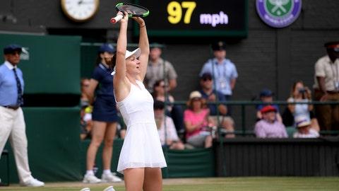 <p>               Romania's Simona Halep celebrates defeating United States' Serena Williams in the women's singles final match on day twelve of the Wimbledon Tennis Championships in London, Saturday, July 13, 2019.(Laurence Griffiths/Pool Photo via AP)             </p>