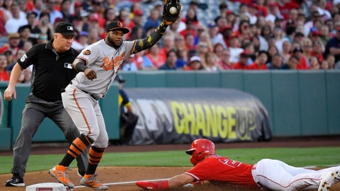 <p>               Los Angeles Angels' Mike Trout, right, dives safely into third on a wild pitch as Baltimore Orioles third baseman Hanser Alberto takes a late throw during the first inning of a baseball game, Thursday, July 25, 2019, in Anaheim, Calif. (AP Photo/Mark J. Terrill)             </p>