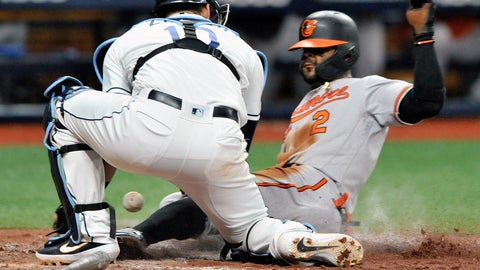 <p>               Tampa Bay Rays catcher Mike Zunino, left, drops the ball as Baltimore Orioles' Jonathan Villar scores on a ball hit by Trey Mancini during the ninth inning of a baseball game Wednesday, July 3, 2019, in St. Petersburg, Fla. (AP Photo/Steve Nesius)             </p>