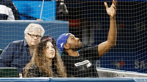 <p>               Toronto Raptors' Kawhi Leonard and his girlfriend, Kishele Shipley, watch the Toronto Blue Jays play the Los Angeles Angels during a baseball game Thursday, June 20, 2019, in Toronto. (Mark Blinch/The Canadian Press via AP)             </p>