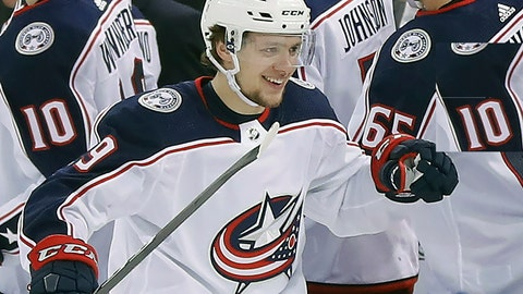 <p>               FILE - In this March 20, 2018, file photo, Columbus Blue Jackets left wing Artemi Panarin (9) is congratulated by teammates after scoring a goal against the New York Rangers during the second period of an NHL hockey game in New York. The New York Rangers' rebuild just took a giant leap forward. Winger Artemi Panarin, the top free agent available this offseason, signed a seven-year, $81.5 million deal to join the Rangers, a person with knowledge of the signing told The Associated Press on condition of anonymity because the team didn't announce terms of the deal Monday, July 1, 2019. (AP Photo/Julie Jacobson, File)             </p>