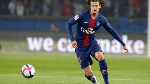 """<p>               In this Sept. 26, 2018, photo, PSG's Adrien Rabiot controls the ball during the French League One soccer match between Paris-Saint-Germain and Reims at Parc des Princes stadium in Paris, France. New Juventus midfielder Adrien Rabiot says club great Gianluigi Buffon """"was persuasive"""" in his decision to sign with the Italian champion. Rabiot says Buffon, his teammate at Paris Saint-Germain last season, was """"the best person I could talk to. His opinion matters a lot to me."""" The 24-year-old Frenchman spoke at a news conference on Tuesday to complete a free transfer move. He ran down his contract in a troubled last season in Paris. (AP Photo/Michel Euler)             </p>"""