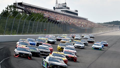<p>               Kevin Harvick leads the field into Turn 1 to start a NASCAR Cup Series auto race, Sunday, July 28, 2019, in Long Pond, Pa. (AP Photo/Derik Hamilton)             </p>