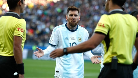 <p>               Argentina's Lionel Messi reacts after receiving a red card during Copa America third-place soccer match against Chile at the Arena Corinthians in Sao Paulo, Brazil, Saturday, July 6, 2019. (AP Photo/Victor R. Caivano)             </p>