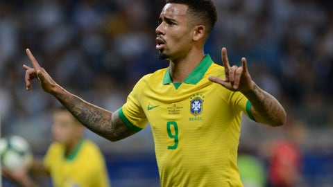 <p>               Brazil's Gabriel Jesus celebrates scoring his side's first goal during a Copa America semifinal soccer match against Argentina at Mineirao stadium in Belo Horizonte, Brazil, Tuesday, July 2, 2019. Brazil won the match 2-0 and advanced to the final. (AP Photo/Eugenio Savio)             </p>