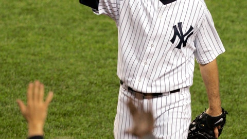 <p>               FILE - In this May 10, 2006, file photo, New York Yankees pitcher Mike Mussina waves to the crowd while leaving the game during the seventh inning against the Boston Red Sox at New York's Yankee Stadium. Mussina will be inducted into the Baseball Hall of Fame on Sunday, July 21, 2019. (AP Photo/Frank Franklin II, File)             </p>