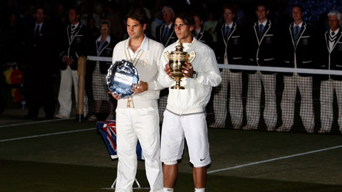 <p>               FILE - In this Sunday, July 6, 2008 file photo Spain's Rafael Nadal right, stands with the winners trophy next to Switzerland's Roger Federer after the men's singles final on the Centre Court at Wimbledon. After going more than 1½ years without playing each other anywhere, Roger Federer and Rafael Nadal will be meeting at a second consecutive Grand Slam tournament when they face off in Wimbledon's semifinals. (AP Photo/Kirsty Wigglesworth, File)             </p>