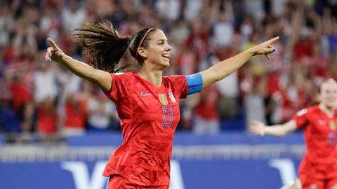 <p>               United States' Alex Morgan celebrates after scoring her side's second goal during the Women's World Cup semifinal soccer match between England and the United States, at the Stade de Lyon, outside Lyon, France, Tuesday, July 2, 2019. (AP Photo/Alessandra Tarantino)             </p>