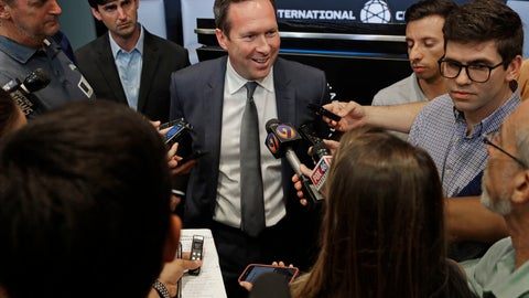 <p>               Carolina Panthers president Tom Glick speaks to the media after a news conference in Charlotte, N.C., Tuesday, July 9, 2019. Glick and Carolina Panthers owner David Tepper will travel to New York to meet with Major League Soccer officials in hopes of bringing an expansion team to Charlotte. (AP Photo/Chuck Burton)             </p>