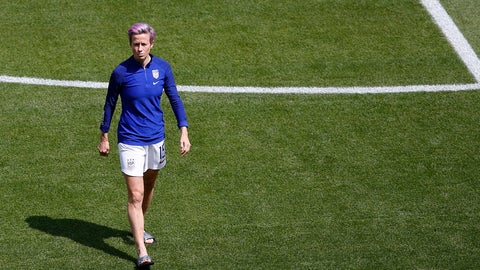 <p>               United States' Megan Rapinoe inspects the pitch as she arrives for the Women's World Cup final soccer match between US and The Netherlands at the Stade de Lyon in Decines, outside Lyon, France, Sunday, July 7, 2019. (AP Photo/Francois Mori)             </p>