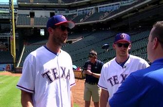 Bishop, Perry take BP before Dallas Stars Night | Rangers Insider