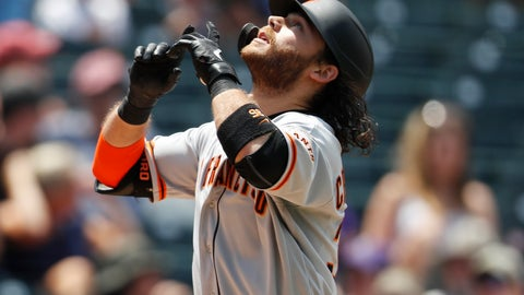 <p>               San Francisco Giants' Brandon Crawford gestures as he crosses home plate after hitting a two-run home run off Colorado Rockies relief pitcher Jesus Tinoco in the sixth inning of a baseball game Monday, July 15, 2019, in Denver.(AP Photo/David Zalubowski)             </p>