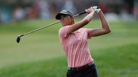 <p>               Cydney Clanton hits her fairway shot on the third hole during the final round of the Dow Great Lakes Bay Invitational golf tournament, Saturday, July 20, 2019, in Midland, Mich. (AP Photo/Carlos Osorio)             </p>