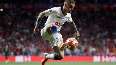 <p>               FILE - In this file photo dated Saturday, June 1, 2019, Tottenham's Kieran Trippier during the Champions League final soccer match against Liverpool at the Wanda Metropolitano Stadium in Madrid.  Atletico Madrid announced Wednesday July 17, 2019, they have completed the signing of England right back Kieran Trippier from Tottenham, on a three-year deal. (AP Photo/Felipe Dana, FILE)             </p>