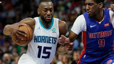 <p>               File-This April 7, 2019, file photo shows Charlotte Hornets guard Kemba Walker (15) driving against Detroit Pistons guard Langston Galloway (9) during the second half of an NBA basketball game in Detroit. A person with knowledge of the situation says Kemba Walker has told the Charlotte Hornets of his intention to sign with the Boston Celtics once the NBA's offseason moratorium ends July 6. Walker is planning to meet with the Celtics on Sunday, June 30, 2019, to discuss and likely finalize a four-year, $141 million deal, according to the person who spoke to The Associated Press on condition of anonymity because neither Walker nor the Hornets publicly revealed any details. (AP Photo/Duane Burleson, File)             </p>