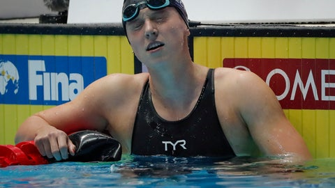 <p>               FILE - In this Monday July 21, 2019 file photo, United States' Katie Ledecky reacts after her second place finish in the women's 400m freestyle final at the World Swimming Championships in Gwangju, South Korea. Ledecky has withdrawn from the 200-meter freestyle event on medical grounds. (AP Photo/Lee Jin-man,File)             </p>