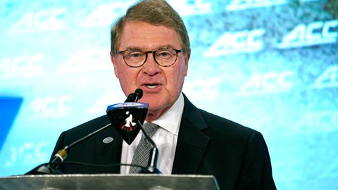 <p>               Commissioner John Swofford speaks during the Atlantic Coast Conference NCAA college football media day in Charlotte, N.C., Wednesday, July 17, 2019. (AP Photo/Chuck Burton)             </p>