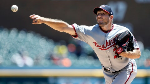 <p>               Washington Nationals' Max Scherzer pitches against the Detroit Tigers during the second inning of a baseball game Sunday, June 30, 2019, in Detroit. (AP Photo/Duane Burleson)             </p>