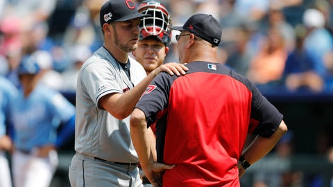 <p>               Cleveland Indians pitcher Trevor Bauer, left, reacts as he is taken out by manager Terry Francona in the fifth inning of a baseball game against the Kansas City Royals at Kauffman Stadium in Kansas City, Mo., Sunday, July 28, 2019. (AP Photo/Colin E. Braley)             </p>
