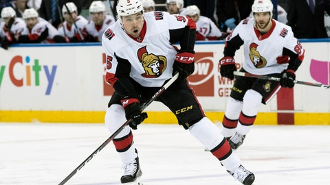 <p>               FILE - In this April 3, 2019, file photo, Ottawa Senators defenseman Cody Ceci (5) controls the puck during the first period of an NHL hockey game against the New York Rangers, at Madison Square Garden in New York. The Toronto Maple Leafs acquired defenseman Cody Ceci, a 2020 third-round pick and minor leaguers Ben Harpur and Aaron Luchuk from the Ottawa Senators for defenseman Nikita Zaitsev, forward Connor Brown and minor leaguer Michael Carcone. The teams announced the trade early on Monday, July 1, 2019, roughly three and a half hours before the start of free agency. (AP Photo/Mary Altaffer, File)             </p>