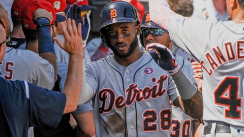<p>               Detroit Tigers celebrate a two-run home run by Detroit Tigers Niko Goodrum (28) against the Chicago White Sox during the sixth inning of a baseball game Thursday, July 4, 2019, in Chicago. (AP Photo/Mark Black)             </p>