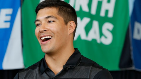 <p>               North Texas quarterback Mason Fine responds to questions in an interview during  the Conference USA college football media day Wednesday, July 17, 2019, in Frisco, Texas. (AP Photo/Tony Gutierrez)             </p>
