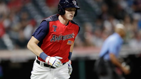 <p>               Sam Huff, of the Texas Rangers, runs after hitting a two-run home run during the seventh inning of the MLB All-Star Futures baseball game, Sunday, July 7, 2019, in Cleveland. The MLB baseball All-Star Game is to be played Tuesday. (AP Photo/Tony Dejak)             </p>