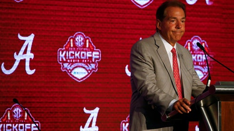 <p>               Alabama head coach Nick Saban speaks during the NCAA college football Southeastern Conference Media Days, Wednesday, July 17, 2019, in Hoover, Ala. (AP Photo/Butch Dill)             </p>