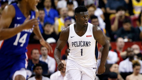 <p>               New Orleans Pelicans' Zion Williamson (1) runs upcourt during the team's NBA summer league basketball game against the New York Knicks Friday, July 5, 2019, in Las Vegas. Knicks' Allonzo Trier is at left. (AP Photo/Steve Marcus)             </p>