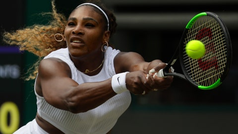 <p>               United States' Serena Williams returns the ball to Spain's Carla Suarez Navarro in a women's singles match during day seven of the Wimbledon Tennis Championships in London, Monday, July 8, 2019. (AP Photo/Kirsty Wigglesworth)             </p>