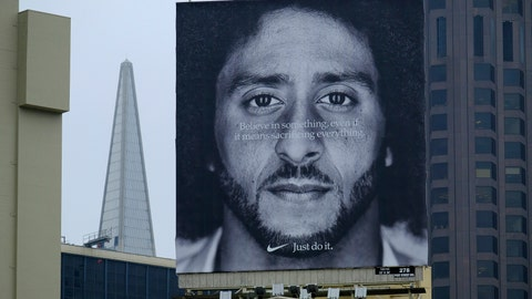 <p>               FILE - In this Sept. 5, 2018, file photo, a large billboard stands on top of a Nike store showing former San Francisco 49ers quarterback Colin Kaepernick, at Union Square in San Francisco. Nike is pulling a flag-themed tennis shoe after Kaepernick complained to the shoemaker, according to the Wall Street Journal. (AP Photo/Eric Risberg, File)             </p>