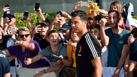 <p>               Juventus' Cristiano Ronaldo arrives at the team's medical center before taking part to a training session, in Turin, Italy, Saturday, July 13, 2019. (Alessandro Di Marco/ANSA via AP)             </p>