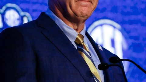 <p>               Southeastern Conference commissioner Greg Sankey speaks during the NCAA college football Southeastern Conference Media Days, Monday, July 15, 2019, in Hoover, Ala. (AP Photo/Butch Dill)             </p>