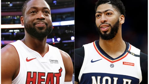 <p>               This combination of photos shows Miami Heat guard Dwyane Wade after an NBA basketball game against the New York Knicks in New York on March 30, 2019, left, and New Orleans Pelicans forward Anthony Davis during an NBA basketball game in New Orleans on March 16, 2019. Video game company 2K Sports announced that Davis will be the cover athlete for the NBA 2K20's standard and deluxe editions. Three-time NBA champion Dwyane Wade, who recently retired, will cover the legend edition. (AP Photo/Nicole Sweet, left, and Tyler Kaufman)             </p>