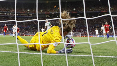 <p>               United States goalkeeper Alyssa Naeher saves a penalty shot taken by England's Steph Houghton during the Women's World Cup semifinal soccer match between England and the United States, at the Stade de Lyon, outside Lyon, France, Tuesday, July 2, 2019. (AP Photo/Alessandra Tarantino)             </p>