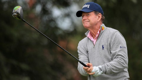 <p>               Tom Watson before announced his retirement from the Senior Open championships and the US senior Championships, during day three of the Senior Open golf tournament at Royal Lytham & St Annes Golf Club, at Lytham, Britain, Saturday July 27, 2019. (Peter Byrne/PA via AP)             </p>
