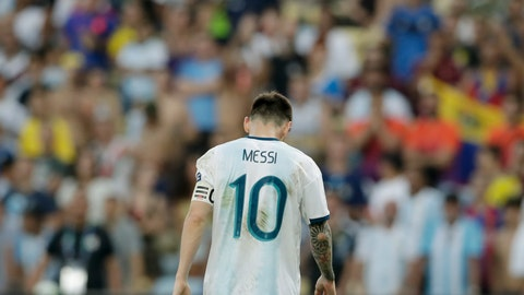 <p>               Argentina's Lionel Messi walks the field during a Copa America quarterfinal soccer match against Venezuela at the Maracana stadium in Rio de Janeiro, Brazil, Friday, June 28, 2019. (AP Photo/Leo Correa)             </p>