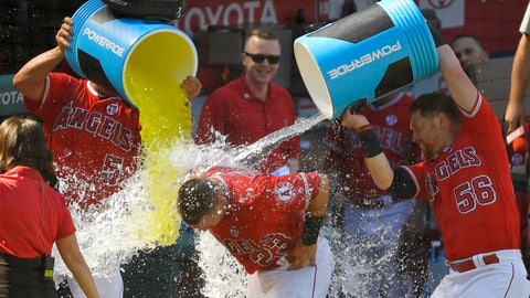 <p>               Los Angeles Angels' Matt Thaiss, center, is doused by Albert Pujols, left, and Kole Calhoun after hitting a walkoff home run during the ninth inning of a baseball game against the Baltimore Orioles, Sunday, July 28, 2019, in Anaheim, Calif. (AP Photo/Mark J. Terrill)             </p>