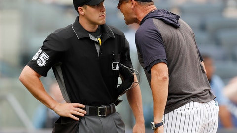 <p>               New York Yankees' Aaron Boone, right, gets in the face of home plate umpire Brennan Miller during the second inning of game one of a baseball doubleheader against the Tampa Bay Rays, Tuesday, July 16, 2019, in New York. Boone had already been ejected when he expressed his displeasure with the umpire's calls. (AP Photo/Kathy Willens)             </p>