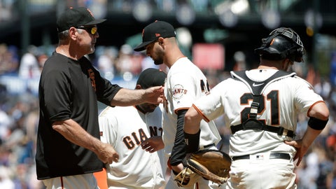 <p>               San Francisco Giants pitcher Tyler Beede, center, hands the ball to manager Bruce Bochy, left, as he is relieved during the sixth inning of a baseball game against the Chicago Cubs in San Francisco, Wednesday, July 24, 2019. Also pictured at right is catcher Stephen Vogt. (AP Photo/Jeff Chiu)             </p>