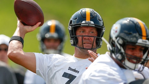 <p>               Pittsburgh Steelers quarterback Ben Roethlisberger (7) passes in a goal line drill during an NFL football training camp practice in Latrobe, Pa., Friday, July 26, 2019. (AP Photo/Keith Srakocic)             </p>