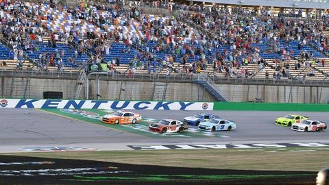 <p>               Austin Cindric (22) leads the field across the line at the start of the NASCAR Xfinity Series auto race at Kentucky Speedway in Sparta, Ky., Friday, July 12, 2019. (AP Photo/Timothy D. Easley)             </p>