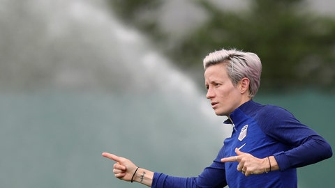 <p>               United States' Megan Rapinoe gestures during a training session of the US Women's Soccer team at a training ground in Lyon, France, Monday, July 1, 2019. The US will face England in a Women's World Cup semifinal match Tuesday in Lyon. (AP Photo/Laurent Cipriani)             </p>