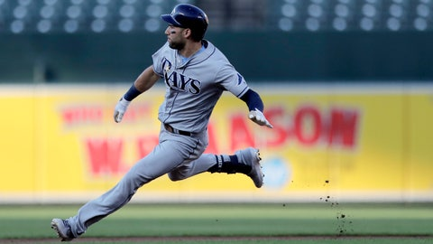 <p>               Tampa Bay Rays' Kevin Kiermaier hits the brakes after touching second base on a double off Baltimore Orioles starting pitcher Dylan Bundy during the first inning of a baseball game Friday, July 12, 2019, in Baltimore. (AP Photo/Julio Cortez)             </p>
