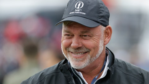 <p>               Northern Ireland's Darren Clarke smiles as he speaks to colleagues don the practice range ahead of the start of the British Open golf championships at Royal Portrush in Northern Ireland, Wednesday, July 17, 2019. The British Open starts Thursday. Clarke will hit the first ball at the start of the Open Thursday. (AP Photo/Matt Dunham)             </p>