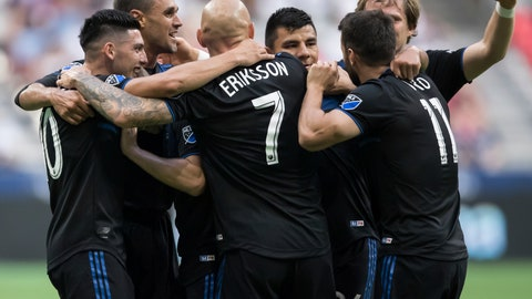<p>               San Jose Earthquakes' Cristian Espinoza, from left to right, Chris Wondolowski, Magnus Eriksson, Nick Lima, Vako Qazaishvili and Florian Jungwirth celebrate Wondolowski's goal against the Vancouver Whitecaps during the first half of an MLS soccer game, Saturday, July 20, 2019 in Vancouver, British Columbia. (Darryl Dyck/The Canadian Press via AP)             </p>