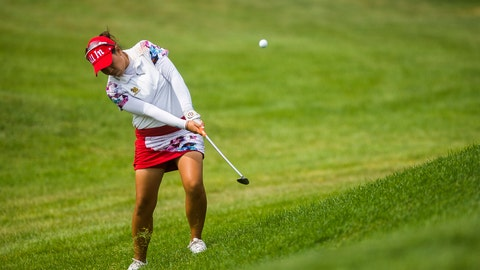 <p>               Jasmine Suwannapura of Thailand plays in the second round of the Dow Great Lakes Bay Invitational golf tournament on Thursday, July 18, 2019 at Midland Country Club in Midland, Mich. (Katy Kildee/Midland Daily News via AP)             </p>