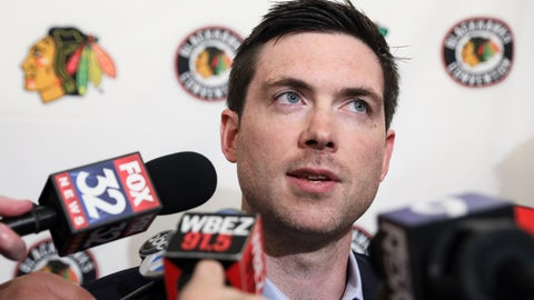 <p>               Chicago Blackhawks head coach Jeremy Colliton speaks to the media during the NHL hockey team's convention in Chicago, Friday, July 26, 2019. (AP Photo/Amr Alfiky)             </p>